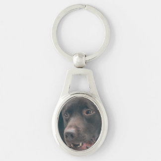 Chocolate Lab Silver-Colored Oval Key Ring