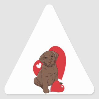 Chocolate Lab Valentine Hearts Triangle Stickers