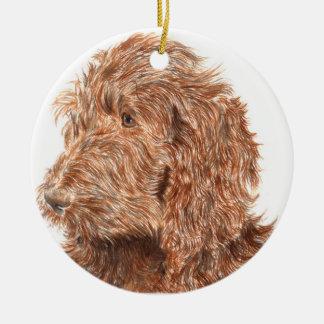 Chocolate Labradoodle Christmas Ornament
