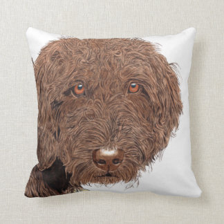 Chocolate Labradoodle Cushion