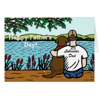 Chocolate Labrador and  Dad Card