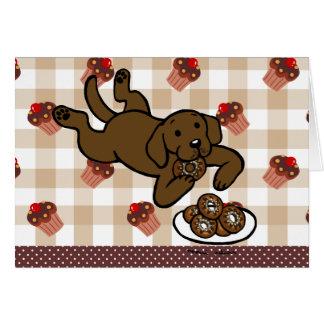 Chocolate Labrador and Doughnuts! Card