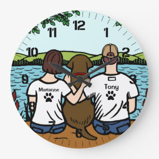Chocolate Labrador and Mom and Dad Large Clock