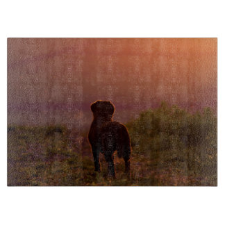 Chocolate Labrador at Sunset Chopping Board