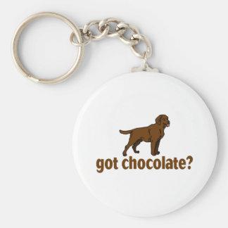 Chocolate Labrador Basic Round Button Key Ring