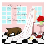 Chocolate Labrador Bridal Shower Personalised Announcement