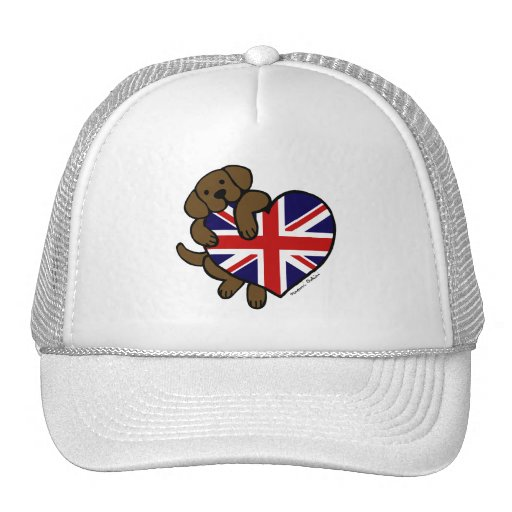 Chocolate Labrador British Heart Mesh Hat
