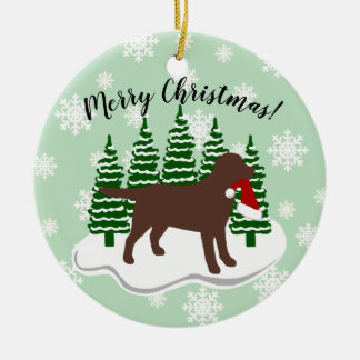 Chocolate Labrador Christmas Evergreen Snowflakes Christmas Ornament