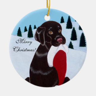 Chocolate Labrador Christmas Santa Hat Christmas Ornament