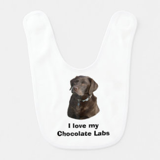 Chocolate Labrador dog photo portrait Bib