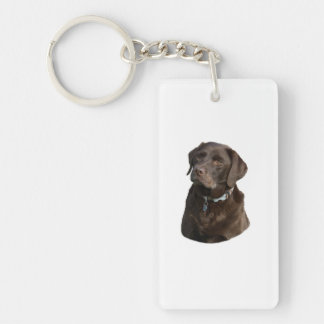 Chocolate Labrador dog photo portrait Double-Sided Rectangular Acrylic Key Ring