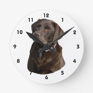 Chocolate Labrador dog photo portrait Round Clock