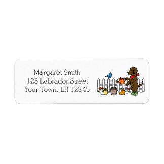 Chocolate Labrador Gardener Address Labels