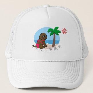 Chocolate Labrador Girl Summer Vacation Hat