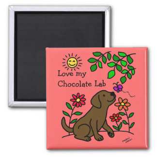 Chocolate Labrador & Green Square Magnet