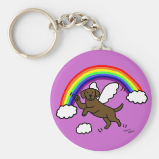 Chocolate Labrador Guardian Angel (Rainbow Bridge) Basic Round Button Key Ring