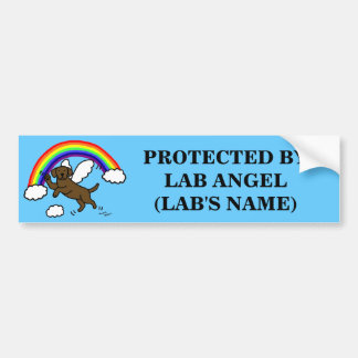 Chocolate Labrador Guardian Angel (Rainbow Bridge) Bumper Sticker