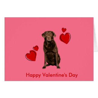 Chocolate Labrador Happy Valentine's Day Card
