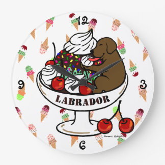 Chocolate Labrador & Ice Cream Sundae Large Clock