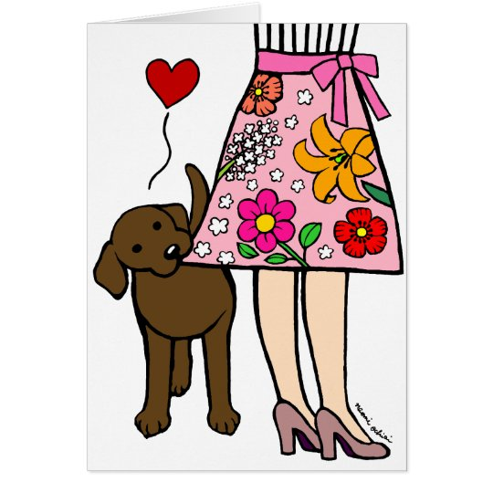 Chocolate Labrador & Mum's Skirt Cartoon Card