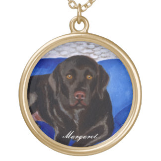 Chocolate Labrador on the Wicker Couch Gold Plated Necklace