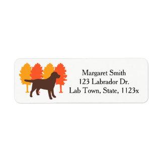 Chocolate Labrador Outline Autumn Trees Return Address Label