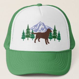 Chocolate Labrador Outline Evergreen Trees Hat