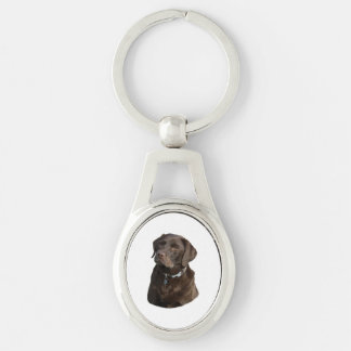 Chocolate Labrador photo portrait Silver-Colored Oval Metal Keychain