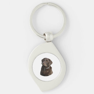 Chocolate Labrador photo portrait Silver-Colored Swirl Metal Keychain