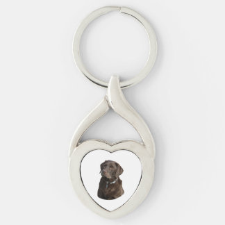 Chocolate Labrador photo portrait Silver-Colored Twisted Heart Key Ring