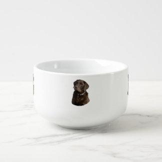 Chocolate Labrador photo portrait Soup Bowl With Handle
