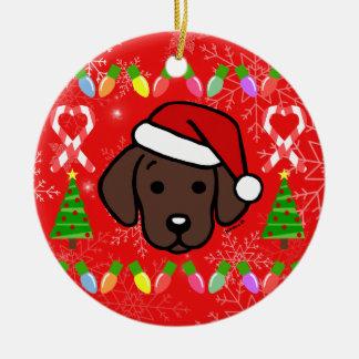 Chocolate Labrador Puppy Christmas Pattern Christmas Ornament