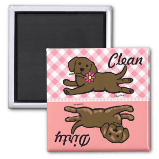 Chocolate Labrador Puppy Clean / Dirty Square Magnet