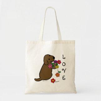 Chocolate Labrador Puppy Flower Basket Cartoon Canvas Bag