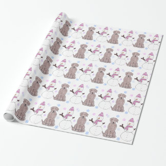 Chocolate Labrador Retriever And Snowman Wrapping Paper