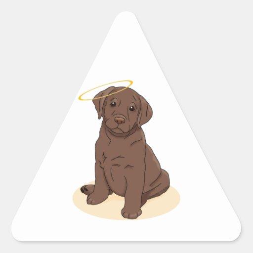 Chocolate Labrador Retriever Angel Triangle Stickers