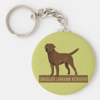 Chocolate Labrador Retriever Basic Round Button Key Ring