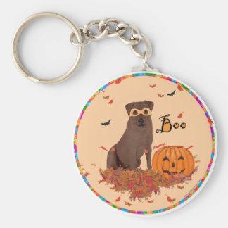 Chocolate Labrador Retriever Boo! Basic Round Button Key Ring