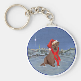 Chocolate Labrador Retriever Christmas Basic Round Button Key Ring