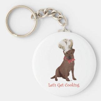 Chocolate Labrador Retriever Cooking Keychain