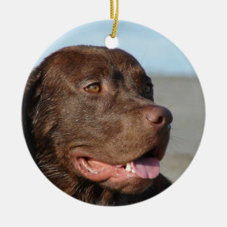 Chocolate Labrador Retriever Dog Ornament