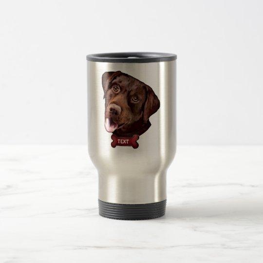 Chocolate labrador retriever dog travel mugs