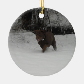 Chocolate Labrador Retriever in the snow Christmas Ornament