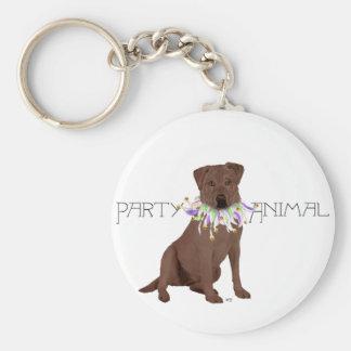 Chocolate Labrador Retriever Party Basic Round Button Key Ring