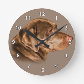 Chocolate Labrador Retriever Round Clock