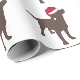 Chocolate Labrador Retriever Santa Hat Christmas Wrapping Paper