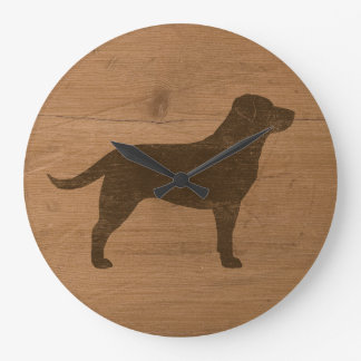 Chocolate Labrador Retriever Silhouette Large Clock