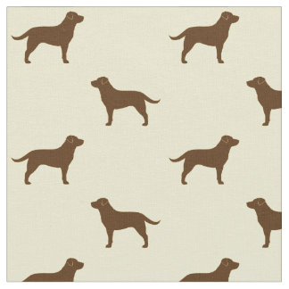 Chocolate Labrador Retriever Silhouettes Pattern Fabric
