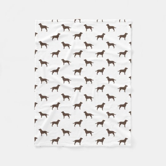 Chocolate Labrador Retriever Silhouettes Pattern Fleece Blanket