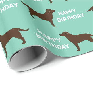 Chocolate Labrador Retriever Silhouettes Pattern Wrapping Paper